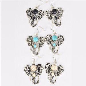 Elephant head stone earrings